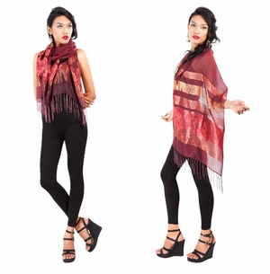 Elegant Silky Scarf in Maroon - Assorted