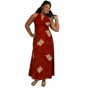 Womens Long Dress - Halter - Hibiscus Burgundy