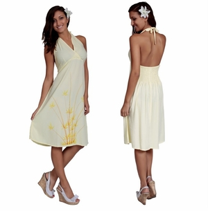 Womens Sundress - Halter - Bamboo Yellow