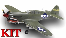 AirField 1400mm 6-Ch P40 (Green) Radio Control Warbird Plane Kit (No Electronics) w/ Fix Landing Gear