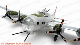 "NEW 7 Channel AirWingRC B-17 Bomber 63"" Scale Electric RC Warbird Kit (Silver Red)"