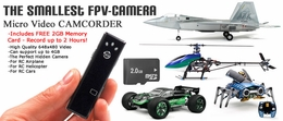 Smallest 18G FPV Micro Video Camera for RC Airplane, RC Helicopter, RC Car w/ FREE 2GB Memory Card