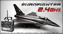 The 2.4Ghz EF2000 Brushless Radio Controlled EDF R/C Jet 100% Ready-to-Fly Black Version