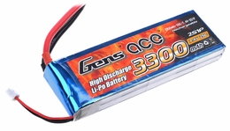 Gens ace 3300mah 2S1P 7.4V 25C Lipo battery pack