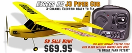 Exceed RC 3-Channel J3 Piper Cub EP Electric RC Airplane 100% Ready-to-Fly
