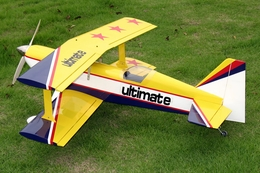 "Yellow Ultimate 46 - 41.5"" ARF Nitro Gas Radio Remote Controlled Almost-Ready-to-Fly RC BiPlane Plane"