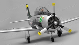 Airfield RC T28 Trojan 1450MM Wingspan 6 Channel Warbird Airplane Almost Ready to Fly (Silver)