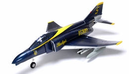 2.4Ghz  AirField 70MM F4E Electric Ducted Fan Jet EDF F4 w/ Missles Brushless ESC/Motor & Lipo Battery (Blue Angel RTF)