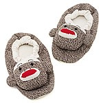 Adults Sock Monkey Plush Slippers