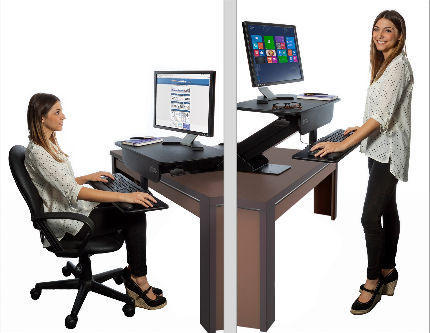 Adjustable Height Gas Spring Easy Lift Standing Desk Sit ...