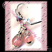 SOFT PINK ROSE QUARTZ handmade gemstone jewelry earrings FREE SHIPPING!