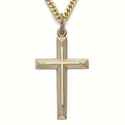 """Sterling Silver 14K Gold Finish Cross Necklace in an Inner Cross and Beveled Design on 24"""" Chain"""