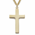 """14K Gold Over Sterling Silver Cross Necklace in a Plain Style Design on 24"""" Chain"""