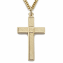 """14K Gold Over Sterling Silver Cross Necklace in an Engraved Design on 24"""" Chain"""