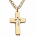 "14K Gold Filled Cross Necklace in a Pierced Design on 18"" Chain"