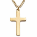 "14K Gold Plated Sterling Silver Cross Necklace in a Plain Style Design on 20"" Chain"