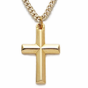 "14K Gold Over Sterling Silver Cross Necklace in a Bevelled Design on 18"" Chain"