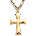 "14K Gold Filled Cross Necklace in Flared Surfer Design on 18"" Chain"