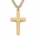 "14K Sterling Silver 14 Gold Finish Cross Necklace in an Engraved Design on 18"" Chain"