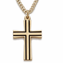 "14K Gold Over Sterling Silver Cross Necklace in a Flared Design with Black Enamel Accents on 18"" Chain"