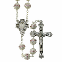 8mm Rose Capped Rosary Necklace with Fine Pewter Crucifix Pendant and Center