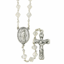 8mm Crystal Tin Cut Rosary Necklace with Silver Plated Miraculous Center and Crucifix