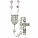 8mm Rose Tin Cut Rosary Necklace with Silver Plated Miraculous Center and Crucifix