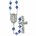 8mm Sapphire Tin Cut Rosary Necklace with Silver Plated Miraculous Center and Crucifix