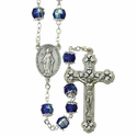 7mm Capped Blue Rosary Necklace with Fine Pewter Crucifix Pendant and Center