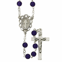 6mm Amethyst Rosary Necklace with Sterling Silver Crucifix  Pendant and Center