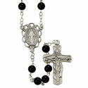6mm Black Onyx Rosary Necklace with Sterling Silver Crucifix Pendant and Center