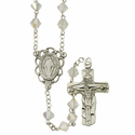 8mm Tin Cut Crystal  Rosary Necklace with Sterling Silver Center and Crucifix