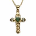 "14K Gold Over Sterling Silver Claddagh Cross with Green Emerald on 18"" Chain"