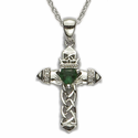 "Sterling Silver Claddagh Cross with weaved pierced design and Centered Emerald Heart on 18"" Chain"