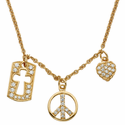 """Sterling Silver 14K Gold Finish CZ Crystal Stone Charms Necklace on 18"""" gold chain"""