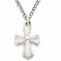Sterling Silver Cross Necklace in a White Pearl Design