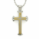 Stainless Steel Gold Cross Necklace in 3-Piece Design