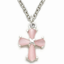"Sterling Silver Cross Necklace in a Pink Pearl Design on 18"" Chain"