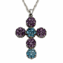 Sterling Silver Cross Necklace w/ Cubic Zirconia Amethyst & Aqua Stones