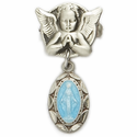 Sterling Silver Blue Enameled Baby Miraculous Medal Angel Pin