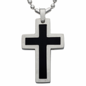 Stainless Steel Cross Necklace Black Polished Middle and Polished Edges
