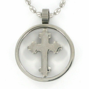 Stainless Steel Cross Necklace in a Circle Ring and Budded Ends Cross Design