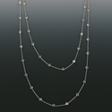 "36"" Silver Plated Rhodium Finish Diamond Like Crystal CZ Stones Chain Necklace By The Yard"