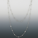 "48"" Silver Plated Rhodium Finish Diamond Like Crystal CZ Stones Chain Necklace By The Yard"
