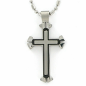 Stainless Steel Cross Necklace in a 3-Piece Black Satin Finish Design