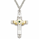 "Sterling Silver Claddagh Cross Necklace with Centered Emerald Stone on 18"" Chain"