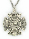 "Sterling Silver Fireman Shield Medal with St. Florian on Back on 24"" Chain"