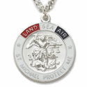 """Sterling Silver Tri-Color Round St. Michael Military Medal on 24"""" Chain"""