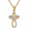 24K Gold Over Sterling Silver  Cross Necklace with Crystal CZ Stones