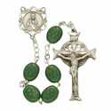8mm Shamrock Beads and Fine Pewter Center/Crucifix Rosary